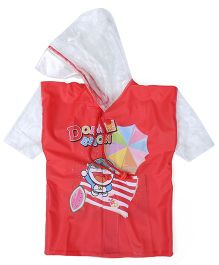 Doraemon Printed Hooded Raincoat - Red