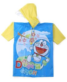 Doraemon Printed Hooded Raincoat - Yellow And Blue
