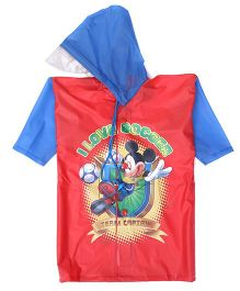 Mickey Hooded Raincoat Love Soccer Print - Red