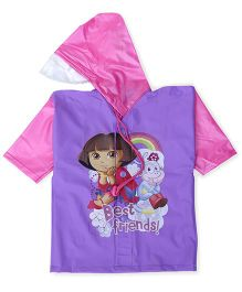 Dora Hooded Raincoat Best Friend Print - Purple