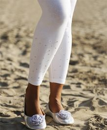 D'chica Crystal Studded Net Leggings For Women - White