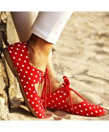 D'chica Polka Love Tie Up Playwear Sneakers For Women - Red