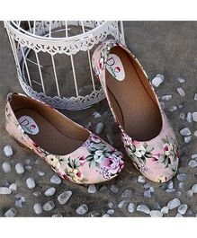 D'chica Floral Print Ballerinas For Women - Pink