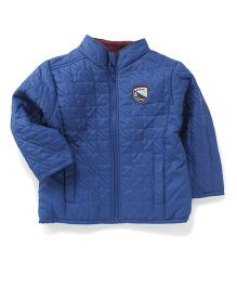 Babyhug Full Sleeves Quilted Jacket Camp Fire Patch - Blue