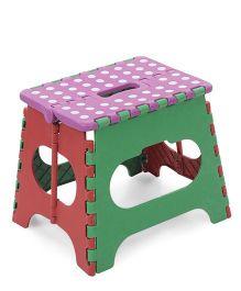 Folding Stool Polka Dots - Purple & Green