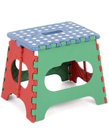 Folding Stool Polka Dots - Blue & Green
