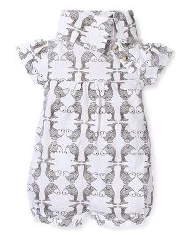 Kate Quinn Fish Print Romper - Off White