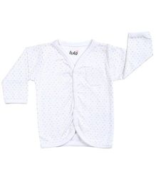 Lula Full Sleeves Vest Polka Dots Print - White
