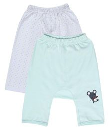 Lula Solid & Polka Diaper Fit Leggings Set of 2 - White And Light Green