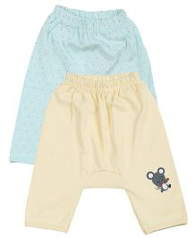 Lula Solid & Polka Diaper Fit Leggings Set of 2 - Yellow And Light Green