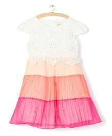 Whitehenz ClothingEmbroidered Colour Block Dress - White