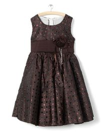 Whitehenz Clothing Shimmer Dots Applique Dress - Chocolate Brown