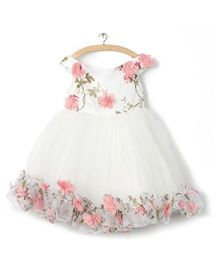Whitehenz Clothing Rossette Tutu Dress - White & Pink