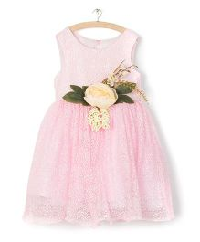 Whitehenz Clothing Big Floral Aplique Dress - Baby Pink