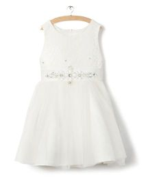 Whitehenz Clothing Sequins Dress With Belt - White