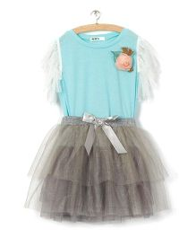 Whitehenz Clothing Rose Applique Top And Skirt Set - Grey & Blue