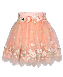 Cutecumber Partywear Skirt Embellished With Flowers - Orange