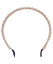 Cutecumber Party Wear Hair Band Stone Embellishment - Golden