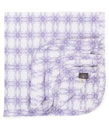 Kate Quinn Floral Print Blanket - White & Purple
