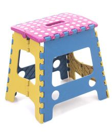 Folding Stool Dotted Design - Purple Blue Yellow
