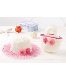 Milonee Soft Floral Lace Hat & Tote Hand Bag Combo - Hot Pink & White