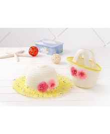 Milonee Soft Floral Lace Hat & Tote Hand Bag Combo - Yellow & White