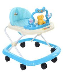 Musical Baby Walker With Elephant Toy Play Tray - Blue & Cream