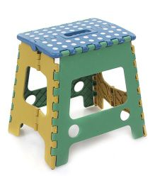 Folding Stool Dotted Design - Blue Yellow And Green