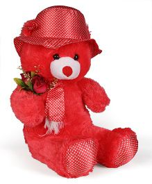 Tickles Teddy Bear With Rose Applique Red - 24 Inches