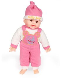 Tickles Laughing Baby Doll Puppy Print Pink - 8 Inches