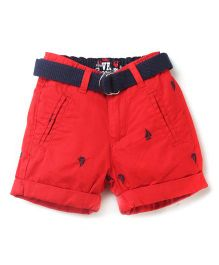 Vitamins Shorts with Belt Boats Print - Red