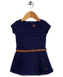 Vitamins Short Sleeves Frock With Belt - Navy