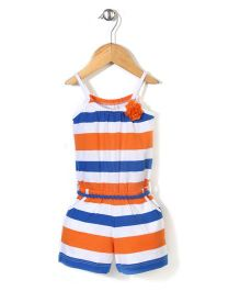 Vitamins Jumpsuit Stripes Print - Orange and Blue