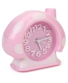 House Shape Analog Alarm Clock Polka Dots - Pink