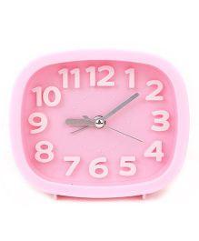 Rectangular Shape Analog Alarm Clock - Pink