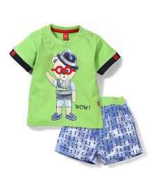 Wow Half Sleeves T-Shirt & Printed Denim Shorts Set - Green