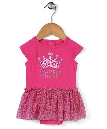 Freshly Squeezed Sparkle Queen Print Dress - Pink