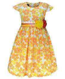 Pspeaches Flower Print Dress - Yellow & Orange