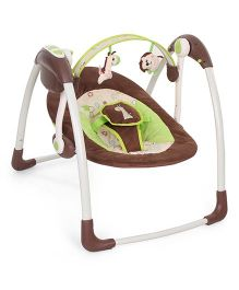 Mastela Deluxe Portable Swing Flower Embroidery - Brown Blue