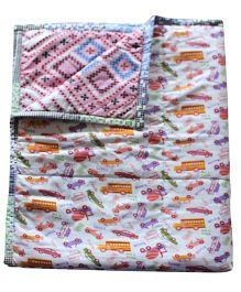 CocoBee Kids Quilt Cum Comforter Vehicle - Multicoloured