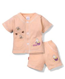 Child World Half Sleeves Front Open T-Shirt And Shorts Teddy Print - Peach