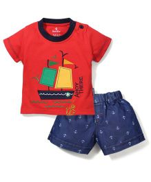 Child World Half Sleeves T-Shirt And Shorts Ahoy There Print - Red And Blue