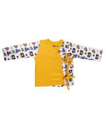 Kidsmode Full Sleeves Organic Cotton Jhabla - Yellow And White
