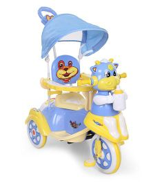 Baby Tricycle With Parents Push Handle Animal Face Design - Blue