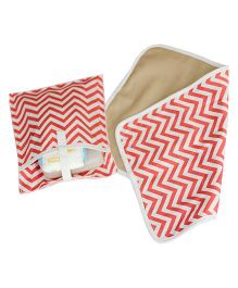 Kadambaby Chevron Diaper Mat And Pouch - Red