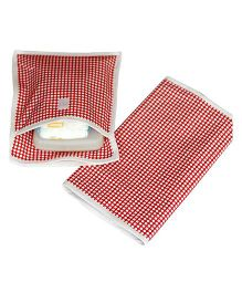 Kadambaby Dotted Diaper Mat And Pouch - Red