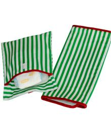 Kadambaby Stripe Diaper Mat And Pouch - Green White