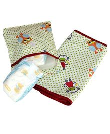 Kadambaby Diaper Mat And Pouch Monkey Print - White