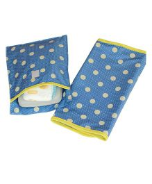 Kadambaby Polka Dots Diaper Mat And Bag Set - Blue