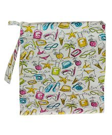 Kadambaby Beach Print Waterproof Bag - Multi Color